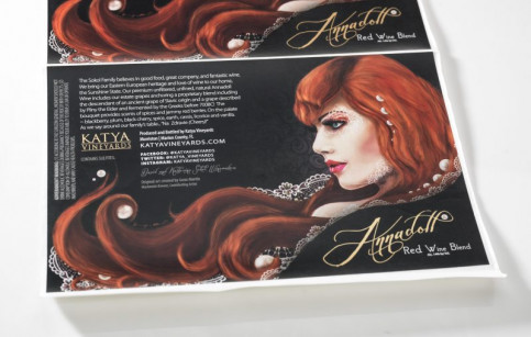 Labeltronix received second place in Best of Show for the Annadoll wine label printed for Katya Vineyards.