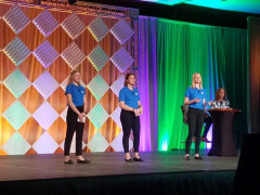 Students from the University of Wisconsin-Stout give a presentation at the 2019 FTA Forum in New Orleans. The students were part of the first-place winning team in the 2019 Phoenix Challenge College Competition.