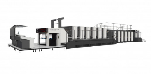 From Komori, for packaging, the GLX640 press with PQAS camera inspection system. Image courtesy of Komori.