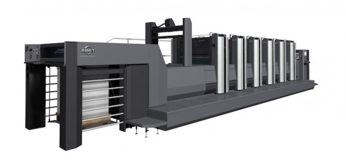 The new RMGT 970ST-5+CC+LED-UV (five colors with coater & LED-UV curing), a 25x38˝ press featuring the ASAP (Automated Smart Assist Printing) System for autonomous makeready. Image courtesy of RMGT.
