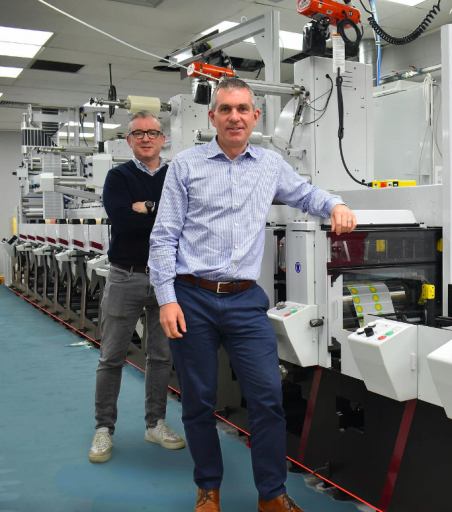 Label Tech's James Costello (front) and Johnny Woods are delighted with the new Mark Andy Evolution press installed in the company's plant in Dublin
