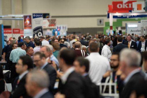 Attendees packed the show floor during PRINTING United Expo 2019 in Dallas. The 2021 event in Orlando, Fla., is expected to be even bigger than the debut.