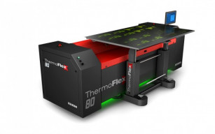 The ThermoFlexX 80 features efficiency-improving elements including dual 100-watt lasers and the FlexTray.