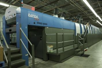 A new seven-color, KBA Rapida 145 handles Dee Paper Box's production.