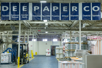Dee Paper Box is located in a repurposed mill building in Chester, Pa.