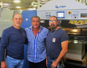 From left, El Paso Paper Box's Printing Supervisor Manny Corral, President and CEO Paul Malooly, and Pressman Carlos Hernandez, with their new KBA Rapida 106.
