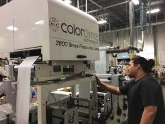 Operator Danny Dahn runs Diversified Labeling Solutions' Colordyne 3600 Series Retrofit unit on a Mark Andy 2200 flexo press.