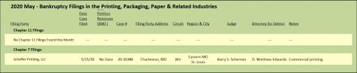 May 2020 Target Report bankruptcy filings.